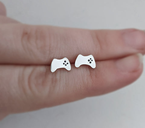 Sterling Silver Game Controller Stud Earrings