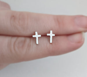 Sterling Silver Cross Stud Earrings