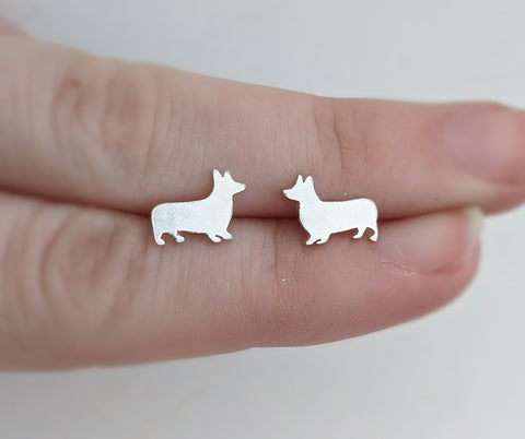 Sterling Silver Corgi Stud Earrings