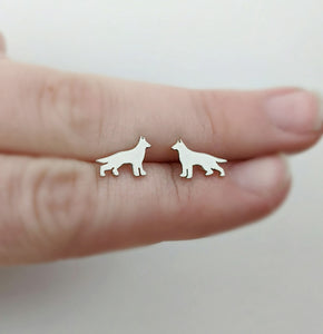 Sterling Silver German Shepherd Stud Earrings