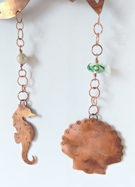 Copper Mermaid Wall Hanging with Glass Beads