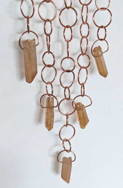 Copper Moon Wall Hanging with Freeform Quarts Points