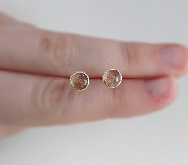 Sterling Silver Sunstone Stud Earrings