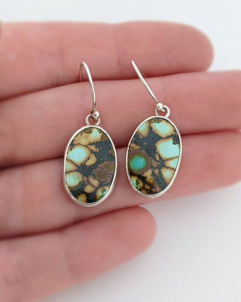 Sterling Silver Hubei Turquoise Dangle Earrings