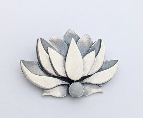 Sterling Silver Lotus Necklace with Opal
