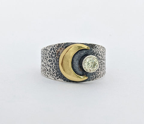 Sterling Silver and Brass Moon Ring with a Peridot Stone