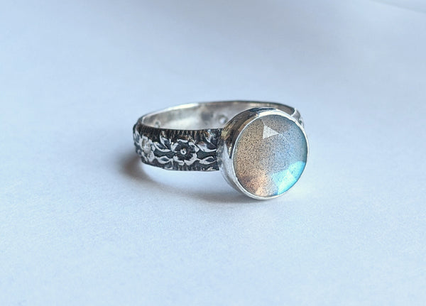 Sterling Silver Rose Cut Labradorite Ring with 2mm CZ