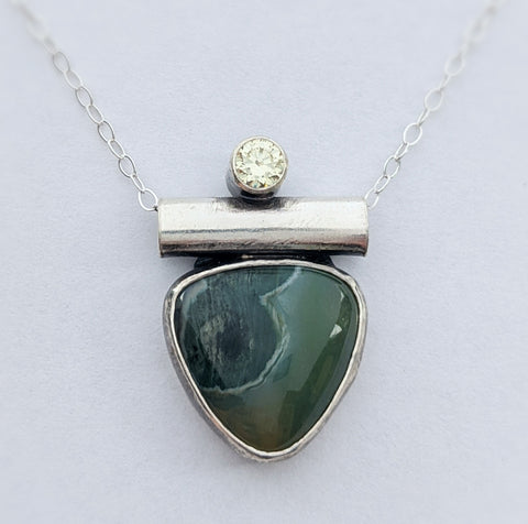 Sterling Silver Ocean Jasper and Peridot CZ Necklace