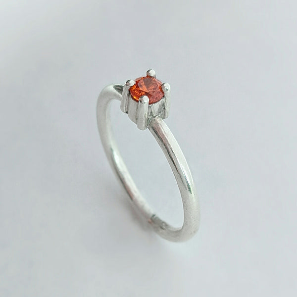 Sterling Silver Ring with Orange CZ Size 8 US