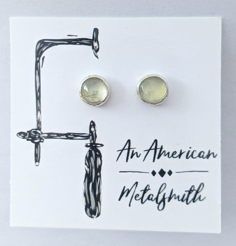 Sterling Silver Prehnite Stud Earrings