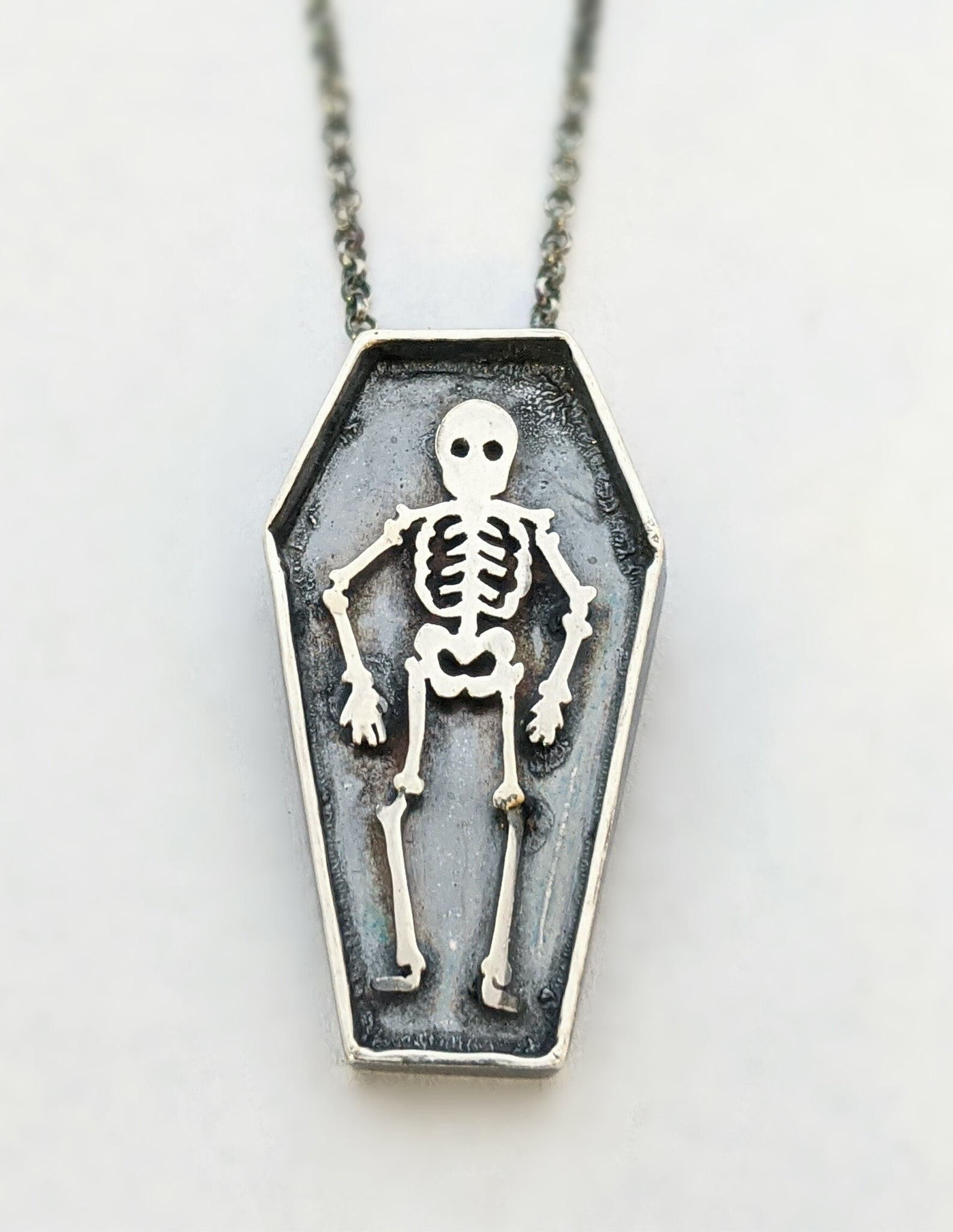 Large Sterling Silver Skeleton Necklace