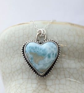 Sterling Silver Larimar Heart Necklace