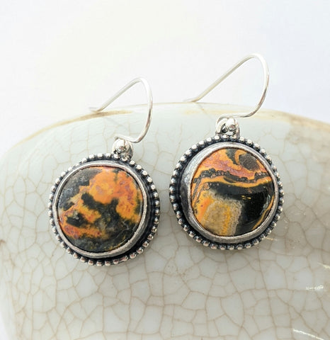 Sterling Silver Bumblebee Jasper Earrings