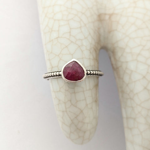 Sterling Silver Ruby Ring Size 8 US