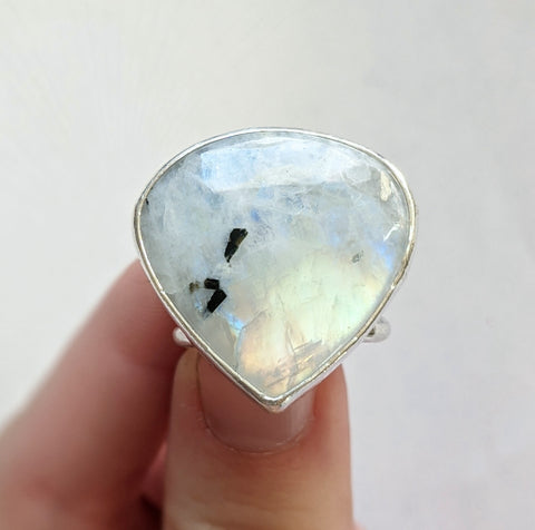 Sterling Silver Moonstone Ring, Size 8 US