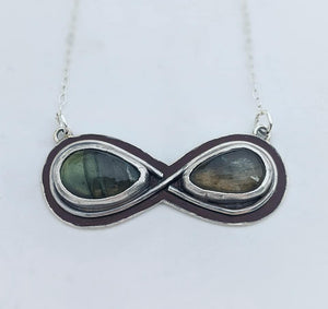 Sterling Silver Labradorite Infinity Necklace