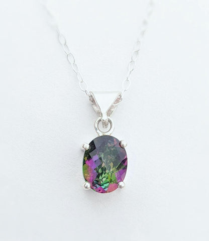 Sterling Silver Mystic Topaz Necklace