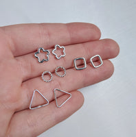 Various design stud earrings made by An American Metalsmith