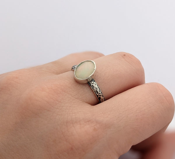 Sterling Silver Opal Ring Size 7.5 US