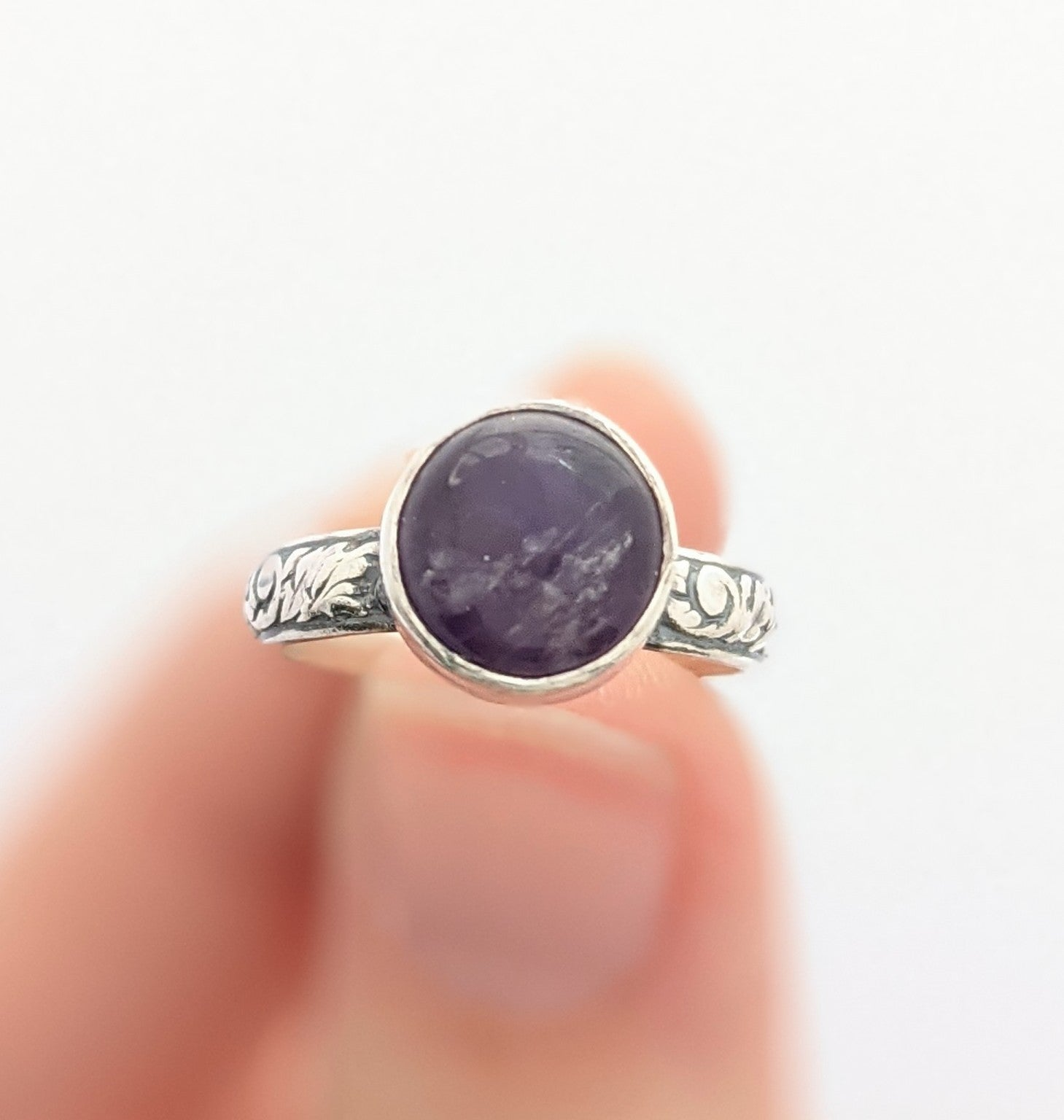 Sterling Silver Amethyst Ring Size 5 US