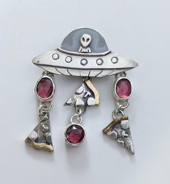 "*Sterling Silver ""Save Me Some Pizza"" with Garnet and Brass Pendant"