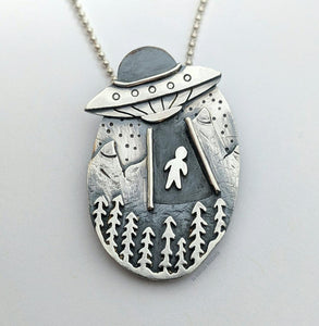 "*Sterling Silver ""Take me away in a Flying Saucer"" Pendant"