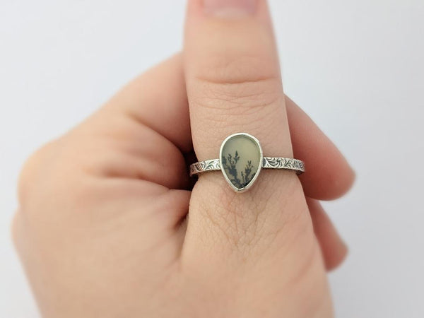 Sterling Silver Agate Ring, Size 8
