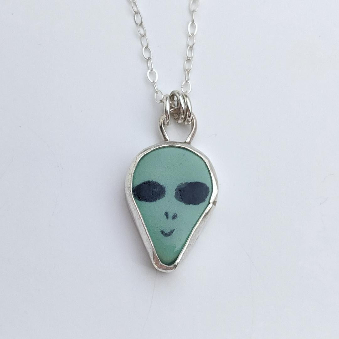 Sterling Silver Alien Necklace