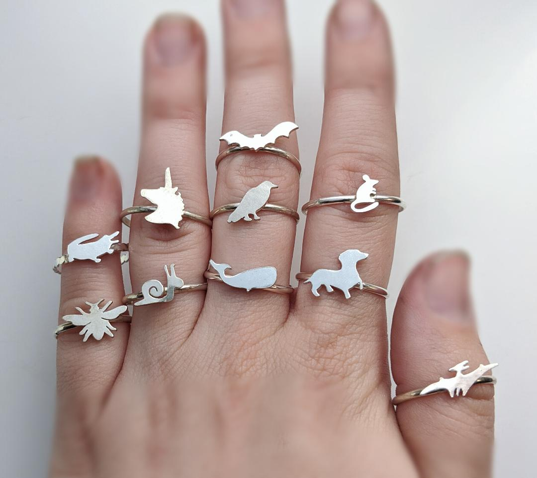 Sterling Silver Animal Stacker Rings
