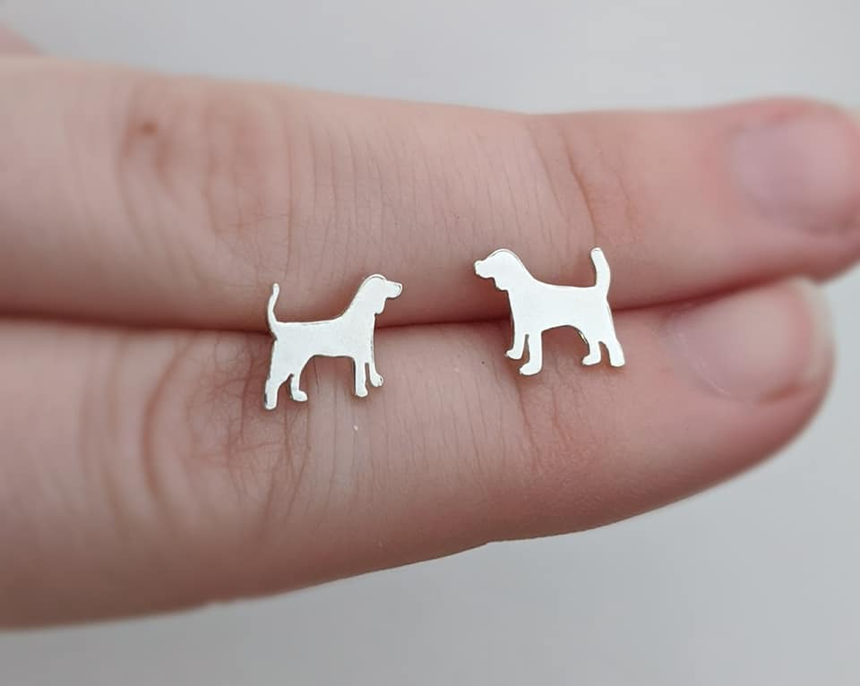 Sterling Silver Beagle Stud Earrings