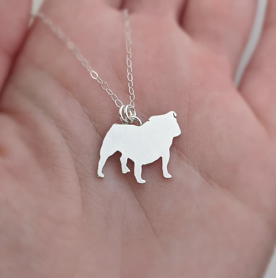 Sterling Silver Bull Dog Necklace