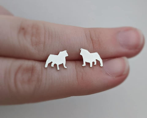Sterling Silver Bull Dog Stud Earrings