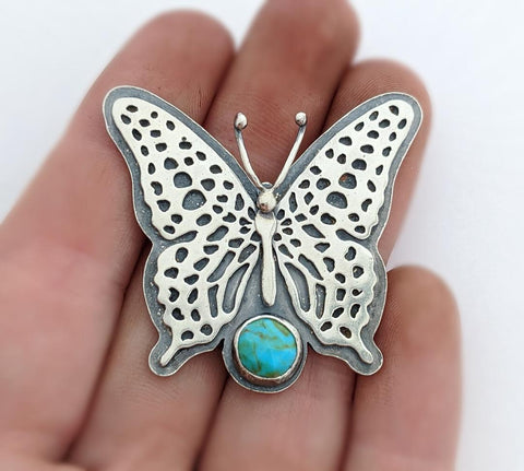 Sterling Silver Butterfly Necklace with Turquoise
