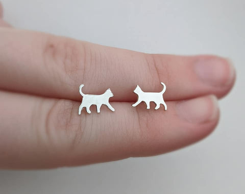 Sterling Silver Cat Stud Earrings