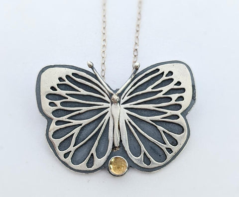 Sterling Silver Butterfly Necklace with Citrine