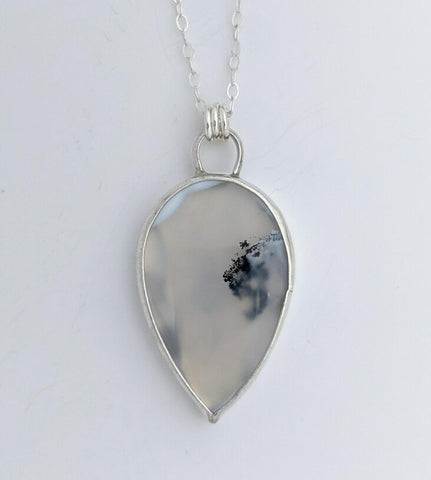Sterling Silver and Clear Dendritic Agate Necklace