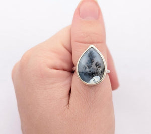 Sterling Silver Dendritic Agate Ring, Size 7 US