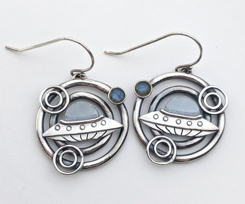 Sterling Silver Crop Circle Earrings with Labradorite