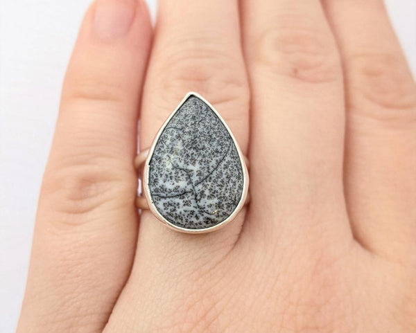 Sterling Silver Dendritic Agate Ring, Size 6