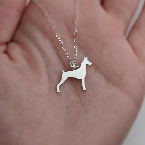 Sterling Silver Doberman Pinscher Necklace