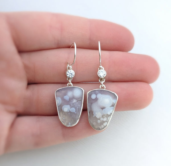 Agate dangle earrings with Cubic Zirconia by An American Metalsmith