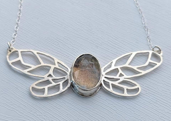 Sterling Silver Rose Cut Labradorite Fairy Necklace