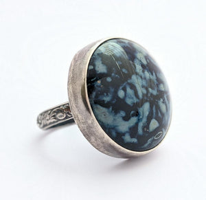 Sterling Silver Glass Ring, Size 7 US