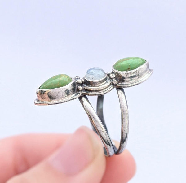 Sterling Silver Moonstone and Mojave Turquoise Ring, Size 8.5 US
