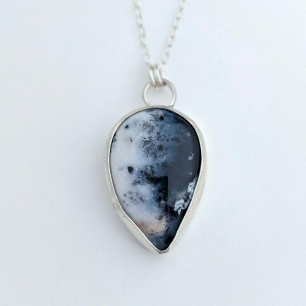 Sterling Silver and Dendritic Agate Necklace
