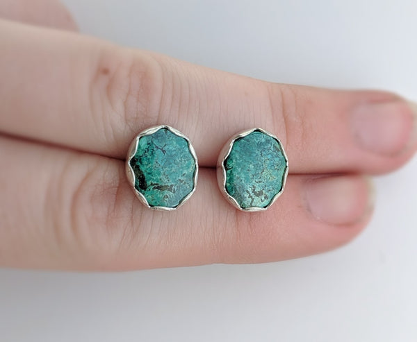 Hubei Turquoise Earrings handmade by An American Metalsmith