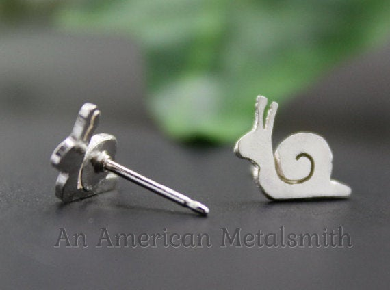 Sterling Silver Snail Earrings handmade by An American Metalsmith