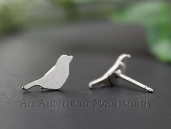 Sterling silver bird earrings handmade by An American Metalsmith