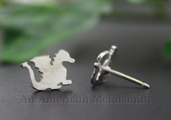 Sterling Silver Dragon Earrings handmade by An American Metalsmith