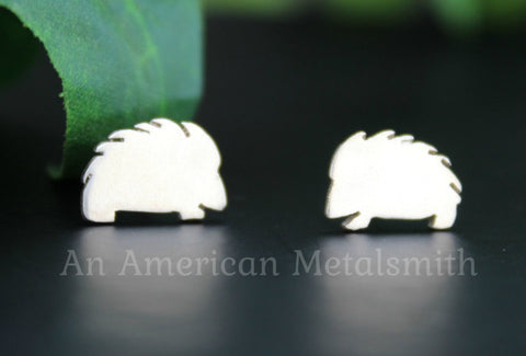 Sterling Silver Hedgehog Earrings handmade by An American Metalsmith